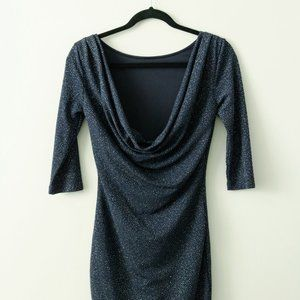 Navy Silver Sparkly Dress with Drop Back